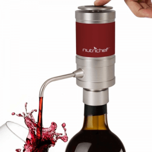 Nutrichef PSLWPMP50 Electric Wine Aerator Dispenser Pump - Portable and Automatic Bottle Breather Tap Machine